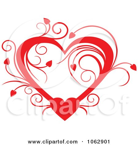 Clipart Floral Red Heart 4 - Royalty Free Vector Illustration by Vector Tradition SM