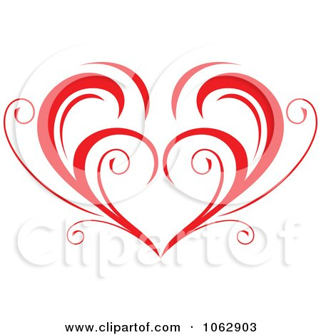 Clipart Floral Red Heart 5 - Royalty Free Vector Illustration by Vector Tradition SM