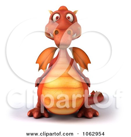 Clipart 3d Red Dragon - Royalty Free CGI Illustration by Julos