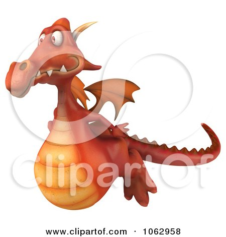 Clipart 3d Red Dragon Flying 1 - Royalty Free CGI Illustration by Julos