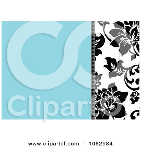 Clipart Blue, Black And White Floral Invite Background 2 - Royalty Free Vector Illustration by BestVector