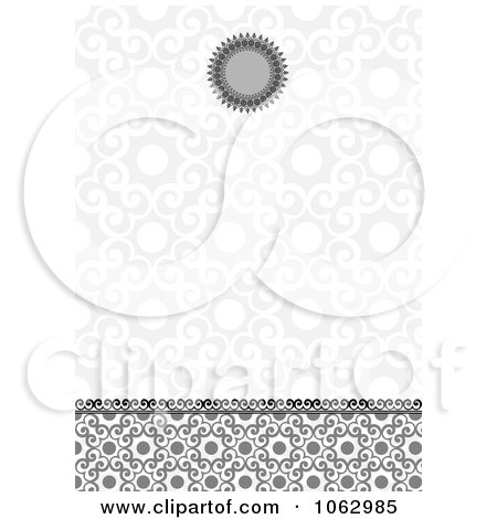 Clipart Gray Ornate Invitation Background - Royalty Free Vector Illustration by BestVector