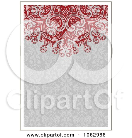 Clipart Red And Gray Ornamental Invite Background - Royalty Free Vector Illustration by BestVector