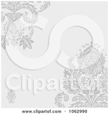 Clipart Floral Gray Victorian Invitation Background - Royalty Free Vector Illustration by BestVector