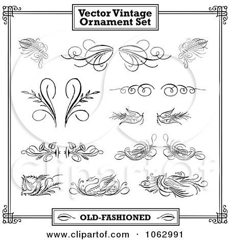 Clipart Vintage Design Elements Digital Collage 2 - Royalty Free Vector Illustration by BestVector