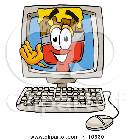 Clipart Picture of a Paint Brush Mascot Cartoon Character Waving From Inside a Computer Screen by Toons4Biz