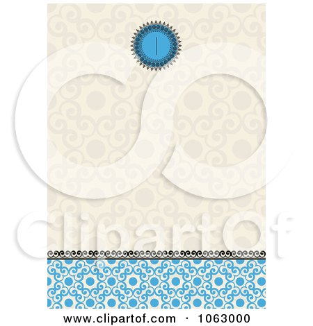 Clipart Tan And Blue Ornate Invitation Background - Royalty Free Vector Illustration by BestVector