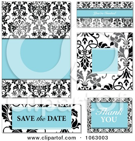 Clipart Blue And Black Damask Wedding Design Elements Digital Collage