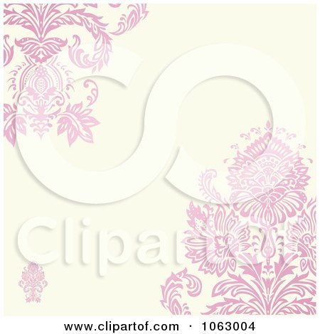 Clipart Floral Pink Victorian Invitation Background - Royalty Free Vector Illustration by BestVector
