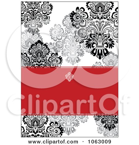 Clipart Black, White And Red Damask Invitation Background - Royalty Free Vector Illustration by BestVector