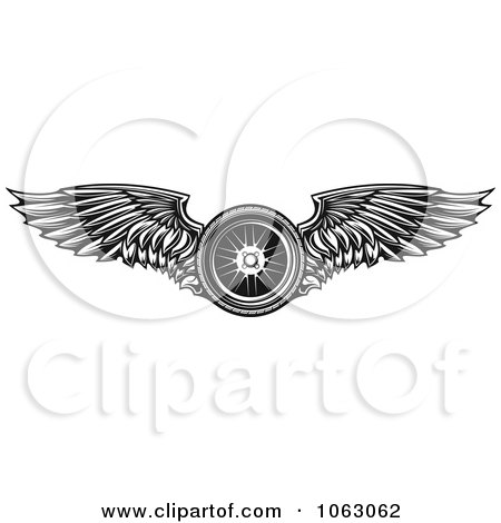 Clipart Black Winged Tire - Royalty Free Vector Illustration by Vector Tradition SM