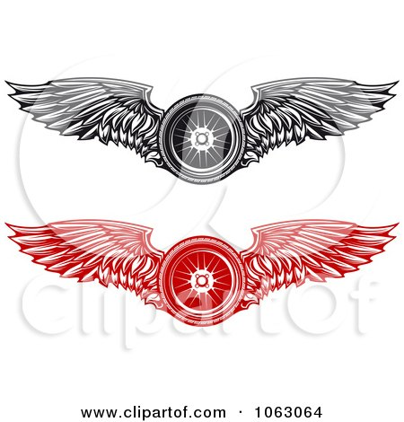 Clipart Winged Tires Digital Collage - Royalty Free Vector Illustration by Vector Tradition SM