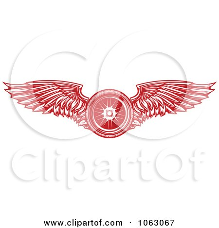 Clipart Red Winged Tire - Royalty Free Vector Illustration by Vector Tradition SM