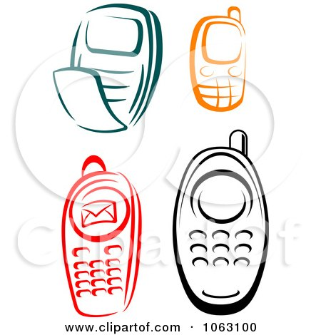 Clipart Cell Phones Digital Collage - Royalty Free Vector Illustration by Vector Tradition SM