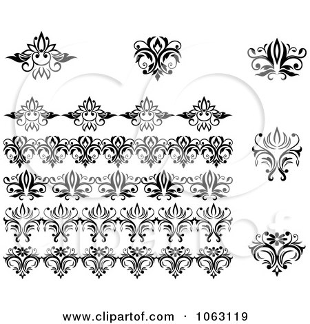 Clipart Flourishes Digital Collage 24 - Royalty Free Vector Illustration by Vector Tradition SM