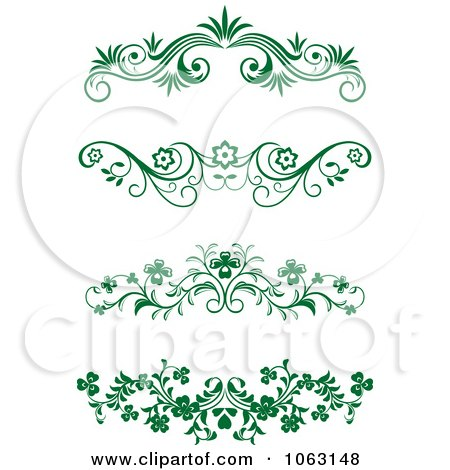 Clipart Green Flourish Borders Digital Collage 18 - Royalty Free Vector Illustration by Vector Tradition SM