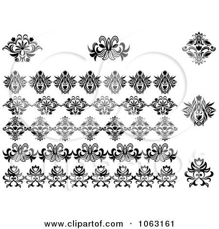 Clipart Flourishes Digital Collage 8 - Royalty Free Vector Illustration by Vector Tradition SM
