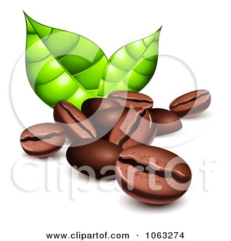Clipart 3d Coffee Beans And Green Leaves - Royalty Free Vector Illustration by Oligo