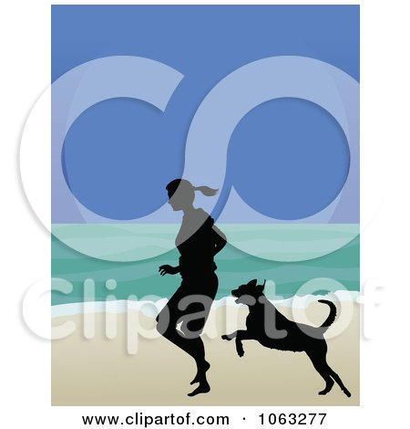 Clipart Woman And Dog Running On A Beach In Silhouette - Royalty Free Vector Illustration by Maria Bell