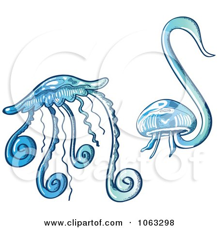 Clipart Blue Jellyfish - Royalty Free Vector Illustration by Zooco