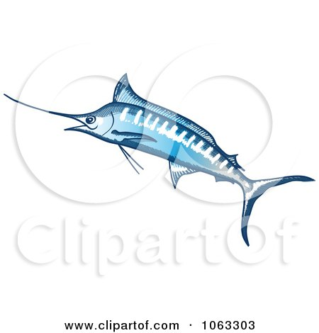 Clipart Leaping Marlin - Royalty Free Vector Illustration by Zooco
