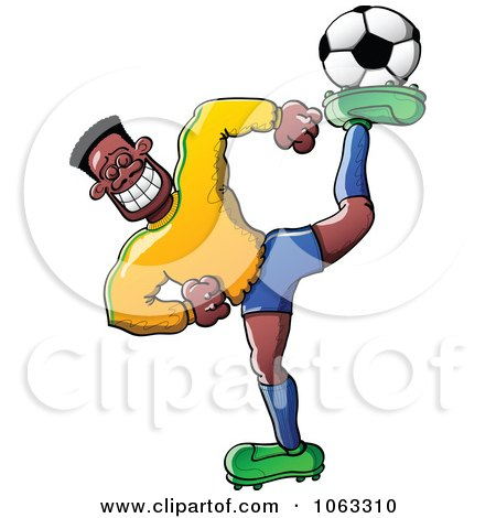 Clipart Flexible Black Soccer Player - Royalty Free Vector Illustration by Zooco