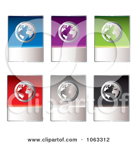 Clipart Global Internet Shopping Buttons Digital Collage - Royalty Free Vector Illustration by michaeltravers