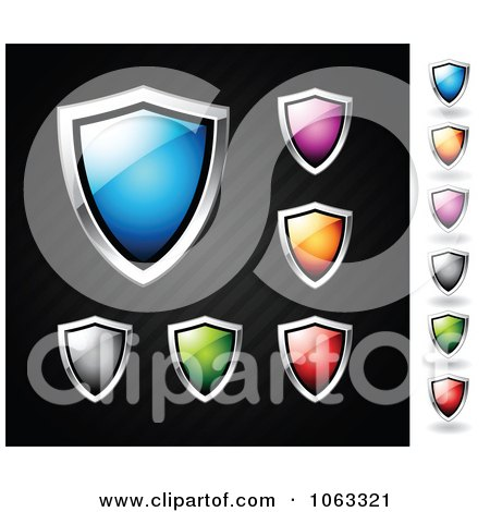 Clipart Colorful Shiny Shields Digital Collage - Royalty Free Vector Illustration by TA Images