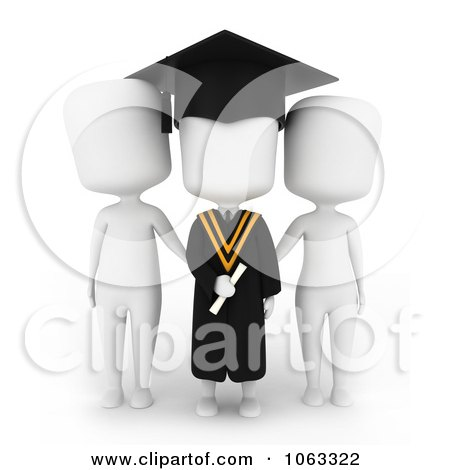Clipart 3d Ivory College Graduate And Parents - Royalty Free CGI Illustration by BNP Design Studio