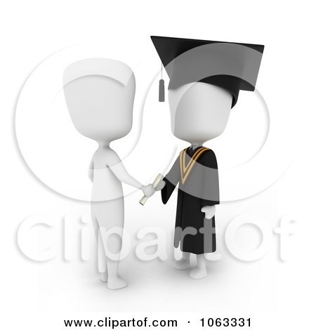 Clipart 3d Ivory College Graduate Receiving A Certificate - Royalty Free CGI Illustration by BNP Design Studio