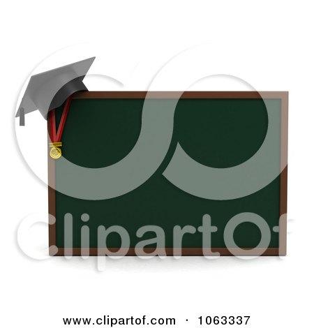 Clipart 3d Graduation Cap On A Chalk Board - Royalty Free CGI Illustration by BNP Design Studio
