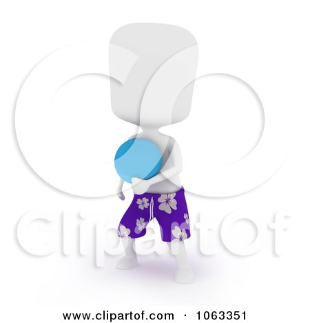 Clipart 3d Ivory Man Playing Frisbee - Royalty Free CGI Illustration by BNP Design Studio