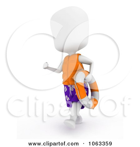 Clipart 3d Ivory Man Lifeguard With A Buoy - Royalty Free CGI Illustration by BNP Design Studio