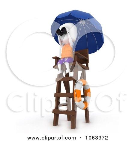 Clipart 3d Ivory Man Lifeguard Keeping Watch - Royalty Free CGI Illustration by BNP Design Studio