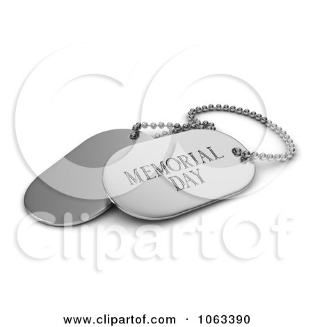 Clipart 3d Silver Memorial Day Dog Tags - Royalty Free CGI Illustration by BNP Design Studio