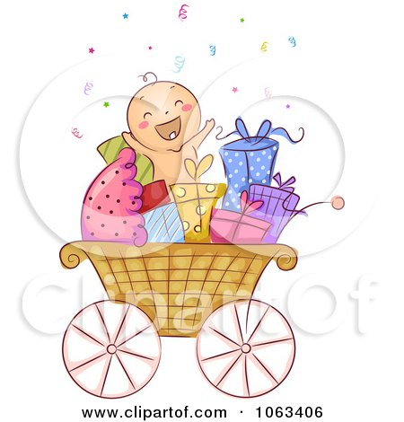 Clipart Baby In A Carriage With Gifts - Royalty Free Vector Illustration by BNP Design Studio