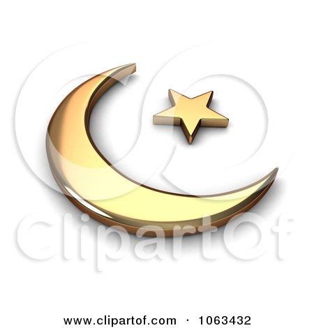 Clipart 3d Gold Islam Symbol - Royalty Free CGI Illustration