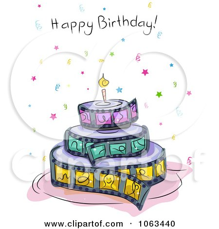 Clipart Film Strip Birthday Cake And Greeting Royalty Free Vector