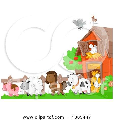 Clipart Farm Animals Background - Royalty Free Vector Illustration by BNP Design Studio