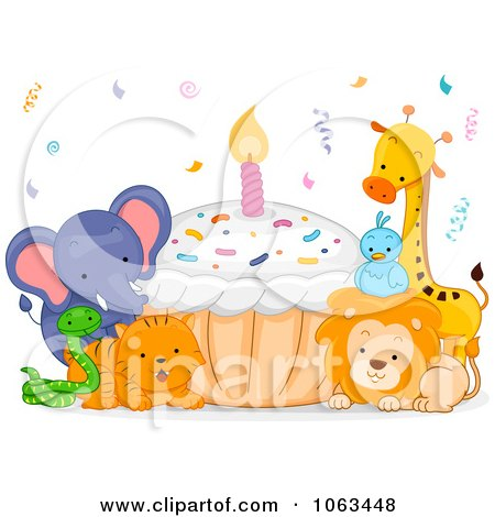 Clipart Birthday Animals With A Cupcake - Royalty Free Vector Illustration by BNP Design Studio