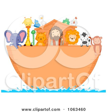 Clipart Noah And Animals On The Ark - Royalty Free Vector Illustration by BNP Design Studio