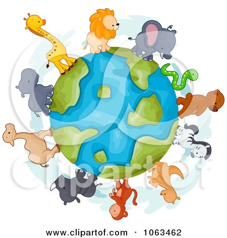 Clipart Animals Around The Earth - Royalty Free Vector Illustration by BNP Design Studio