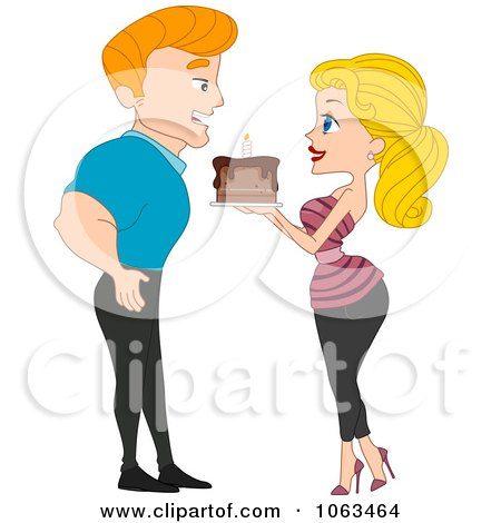Clipart Pinup Woman Giving A Birthday Cake To Her Boyfriend - Royalty Free Vector Illustration by BNP Design Studio