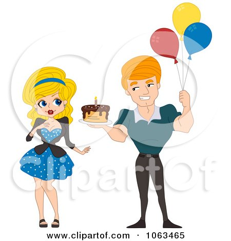 Clipart Pinup Man Holding A Birthday Cake And Balloons - Royalty Free Vector Illustration by BNP Design Studio