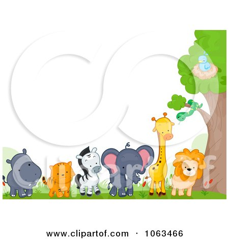 Clipart Border Of Wild Animals By A Tree - Royalty Free Vector Illustration by BNP Design Studio