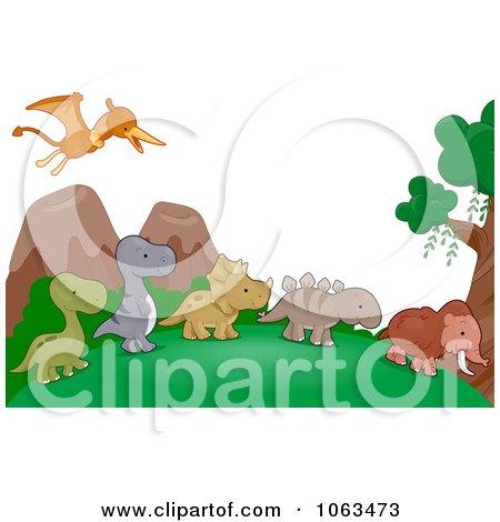 Clipart Dinosaur Background - Royalty Free Vector Illustration by BNP Design Studio