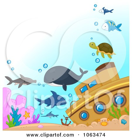 Clipart Sea Creatures By A Sunken Ship - Royalty Free Vector Illustration by BNP Design Studio