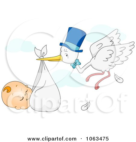 Clipart Sleeping Baby Being Carried By A Stork - Royalty Free Vector Illustration by BNP Design Studio