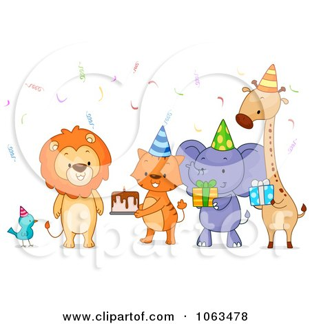 Clipart Birthday Party Animals With Cake And Gifts