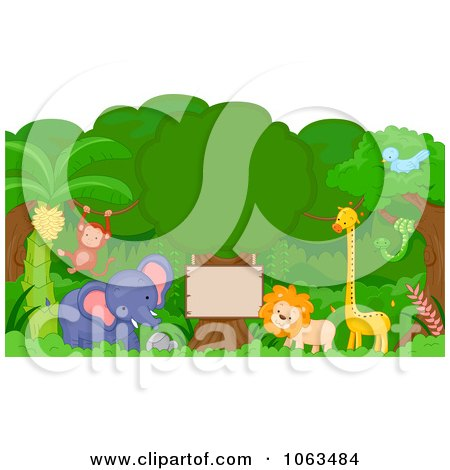 Clipart Jungle Animals Around A Sign - Royalty Free Vector Illustration by BNP Design Studio